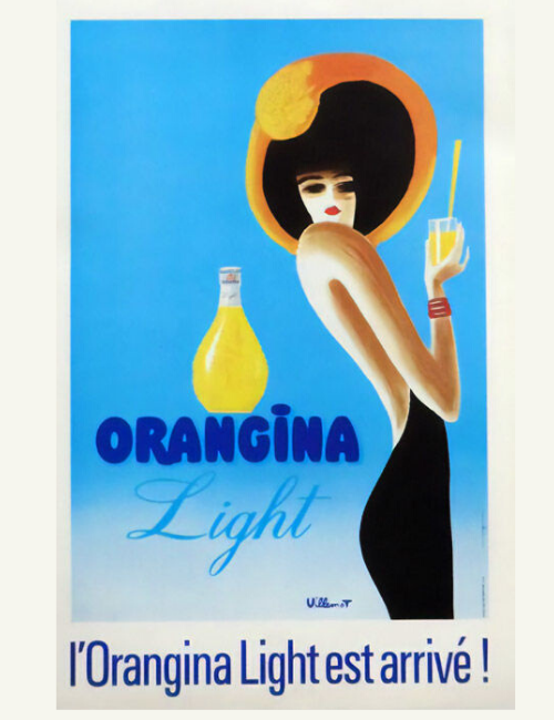 Affiche ancienne Villemot - Orangina light