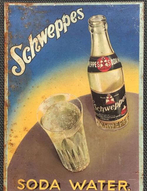plaque émaillée cuisine - Schweppes