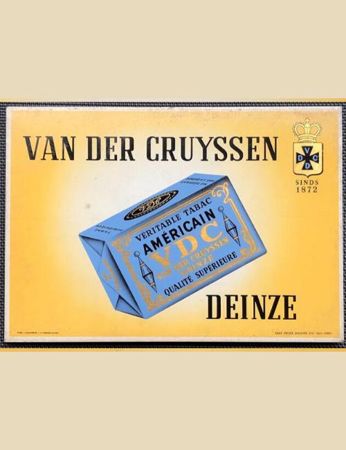 Plaque publicitaire ancienne Van Der Cruyssen Deinze