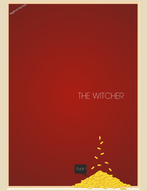 Affiche décalée minimaliste The Witcher