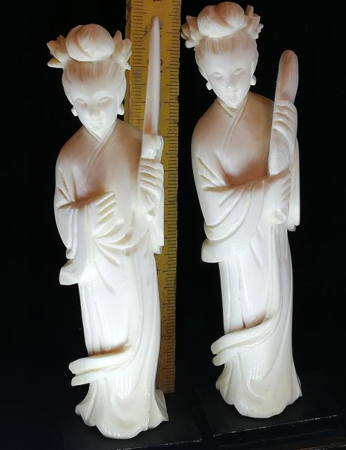 Statuettes chinoises ivoire deux femmes