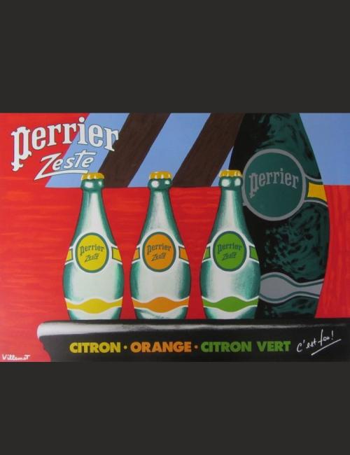 Affiche ancienne Bernard Villemot Perrier Zeste