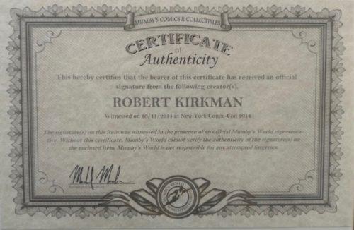 The Walking Dead # 100 signé par Robert Kirkman